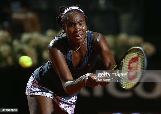Venus Williams of the United States in action in her match against Katerina Siniakova of Czech Republic on Day Two of the The Internazionali BNL...