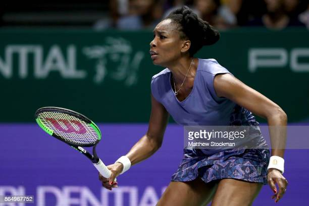 Venus Williams of the United States in action in her singles match against Karolina Pliskova of Czech Republic during day 1 of the BNP Paribas WTA...
