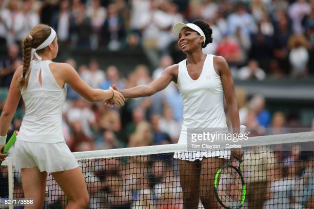 Venus Williams of the United States is congratulated on her victory by Jelena Ostapenko of Latvia in the Ladies' Singles Quarter Final match on...