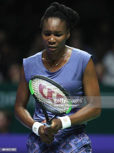 Venus Williams of the United States looks dejected in her singles match against Karolina Pliskova of Czech Republic during day 1 of the BNP Paribas...
