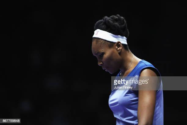 Venus Williams of the United States looks dejected in the Singles Final against Caroline Wozniacki of Denmark during day 8 of the BNP Paribas WTA...