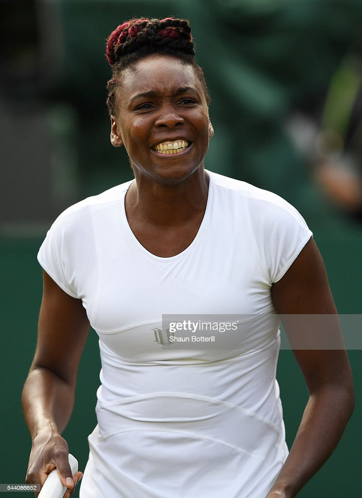Venus Williams of The United States looks on during the Ladies Singles third round match against Daria Kasatkina of Russia on day five of the Wimbledon Lawn Tennis Championships at the All England Lawn Tennis and Croquet Club on July 1, 2016 in London, England.