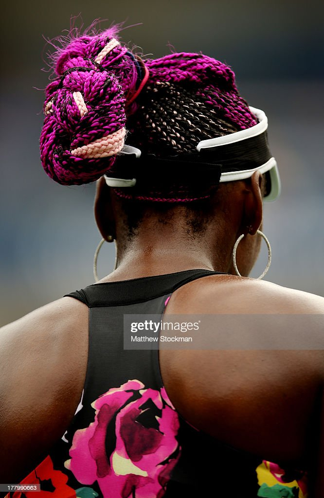<a gi-track='captionPersonalityLinkClicked' href=/galleries/search?phrase=Venus+Williams&family=editorial&specificpeople=171981 ng-click='$event.stopPropagation()'>Venus Williams</a> of the United States of America looks on during the women's singles first round match against Kirsten Flipkens of Belgium first round match on Day One of the 2013 US Open at USTA Billie Jean King National Tennis Center on August 26, 2013 in the Flushing neighborhood of the Queens borough of New York City.