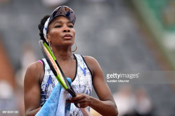 Venus Williams of the United States of America reacts during her Women's single match against Elise Mertens of Belgium on day six of the 2017 French...