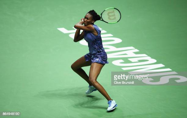 Venus Williams of the United States plays a backhand in her singles match against Karolina Pliskova of Czech Republic during day 1 of the BNP Paribas...