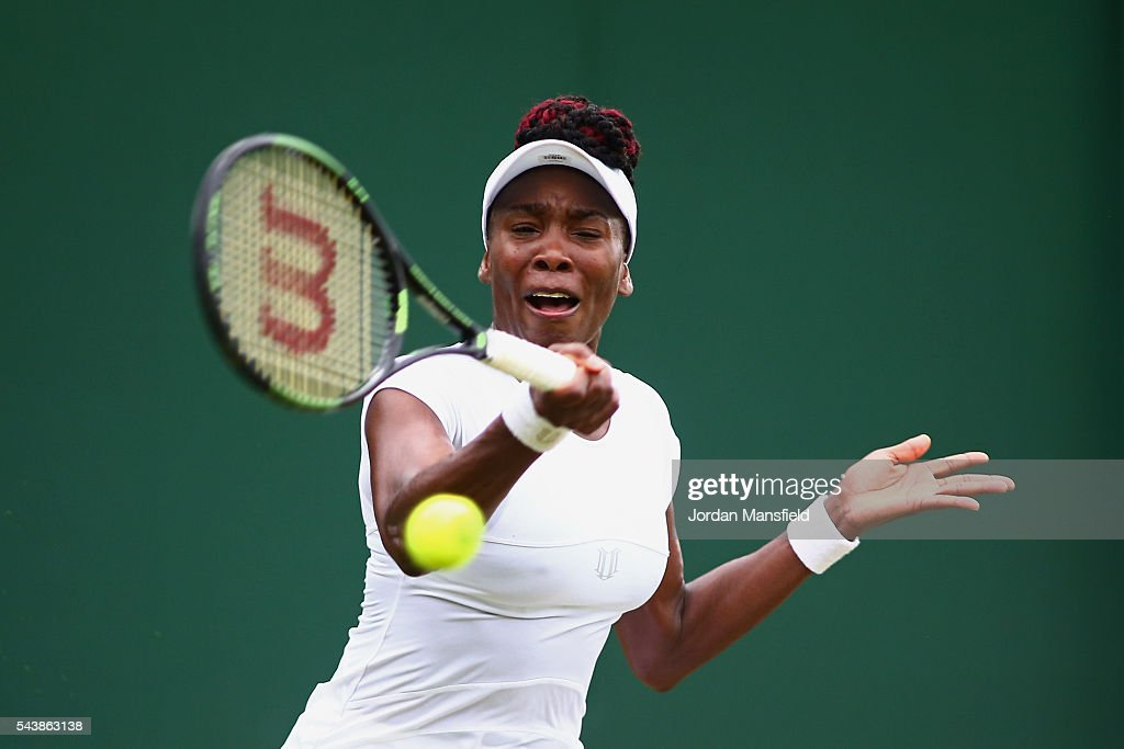 <a gi-track='captionPersonalityLinkClicked' href=/galleries/search?phrase=Venus+Williams&family=editorial&specificpeople=171981 ng-click='$event.stopPropagation()'>Venus Williams</a> of The United States plays a forehand during the Ladies Singles second round match against Maria Sakkari of Greece on day four of the Wimbledon Lawn Tennis Championships at the All England Lawn Tennis and Croquet Club on June 30, 2016 in London, England.