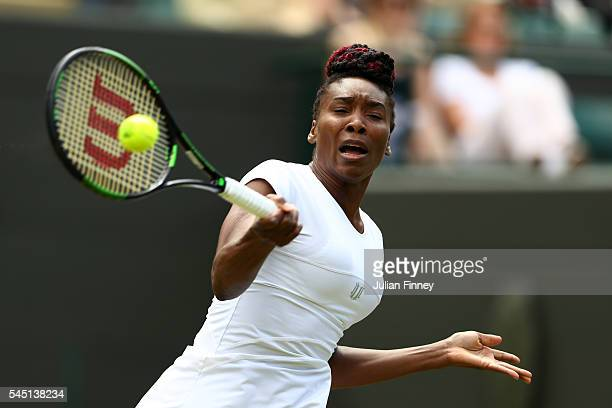 Venus Williams of The United States plays a forehand during the Ladies Singles Quarter Finals match against Yaroslava Shvedova of Kazakhstan on day...