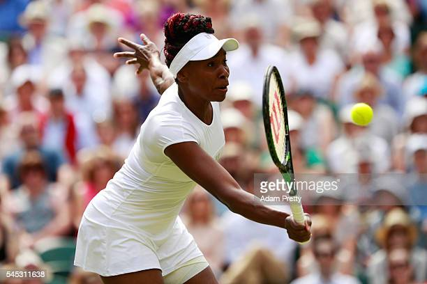Venus Williams of The United States plays a forehand during the Ladies Singles Semi Final match against Angelique Kerber of Germany on day ten of the...