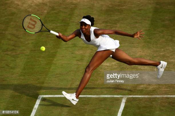 Venus Williams of The United States plays a forehand during the Ladies Singles third round match against Naomi Osaka of Japan on day five of the...