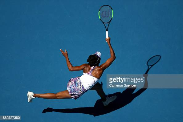 Venus Williams of the United States plays a forehand in her quarterfinal match against Anastasia Pavlyuchenkova of Russia on day nine of the 2017...