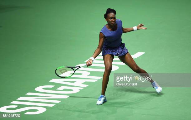 Venus Williams of the United States plays a forehand in her singles match against Karolina Pliskova of Czech Republic during day 1 of the BNP Paribas...