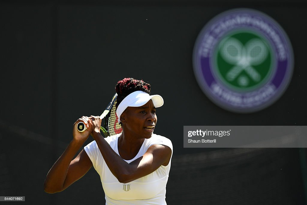 <a gi-track='captionPersonalityLinkClicked' href=/galleries/search?phrase=Venus+Williams&family=editorial&specificpeople=171981 ng-click='$event.stopPropagation()'>Venus Williams</a> of The United States plays a return during the Ladies Singles third round match against Daria Kasatkina of Russia on day five of the Wimbledon Lawn Tennis Championships at the All England Lawn Tennis and Croquet Club on July 1, 2016 in London, England.