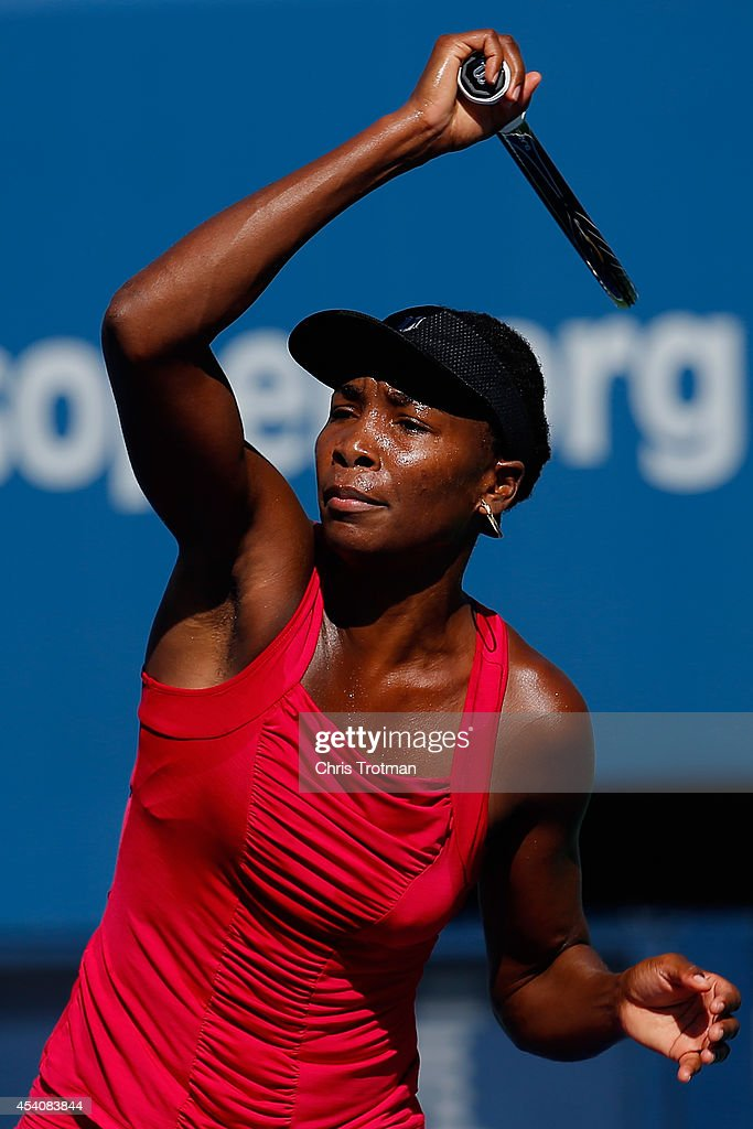 <a gi-track='captionPersonalityLinkClicked' href=/galleries/search?phrase=Venus+Williams&family=editorial&specificpeople=171981 ng-click='$event.stopPropagation()'>Venus Williams</a> of the United States practices prior to the start of the 2014 U.S. Open at the USTA Billie Jean King National Tennis Center on August 24, 2014 in the Flushing neighborhood of Queens in New York City.