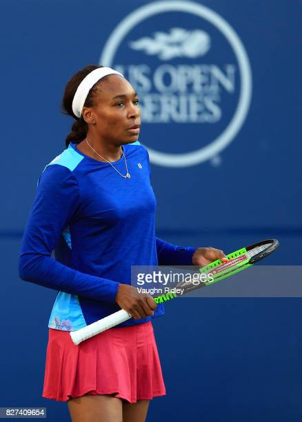 Venus Williams of the United States prepares to return a serve against IrinaCamelia Begu of Romania during Day 3 of the Rogers Cup at Aviva Centre on...
