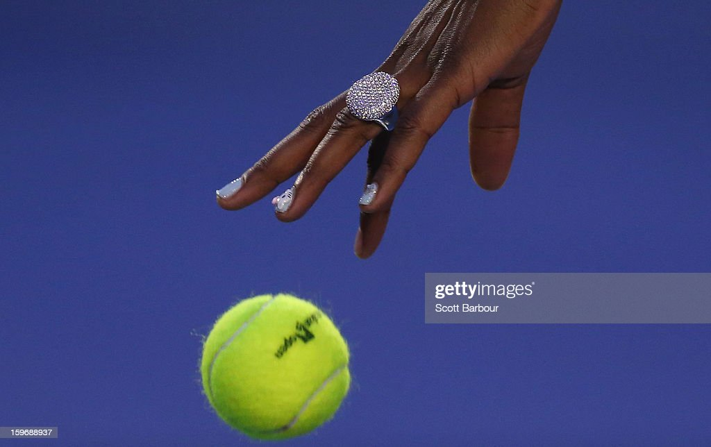 <a gi-track='captionPersonalityLinkClicked' href=/galleries/search?phrase=Venus+Williams&family=editorial&specificpeople=171981 ng-click='$event.stopPropagation()'>Venus Williams</a> of the United States prepares to serve in her third round match against Maria Sharapova of Russia during day five of the 2013 Australian Open at Melbourne Park on January 18, 2013 in Melbourne, Australia.