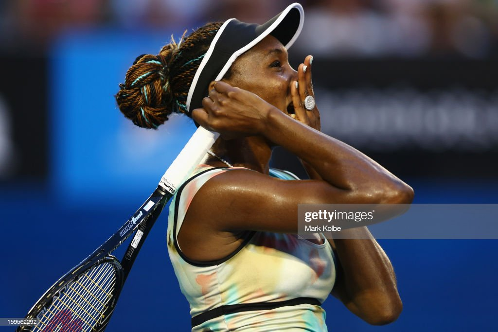 <a gi-track='captionPersonalityLinkClicked' href=/galleries/search?phrase=Venus+Williams&family=editorial&specificpeople=171981 ng-click='$event.stopPropagation()'>Venus Williams</a> of the United States reacts after losing a point in her second round match against Alize Cornet of France during day three of the 2013 Australian Open at Melbourne Park on January 16, 2013 in Melbourne, Australia.