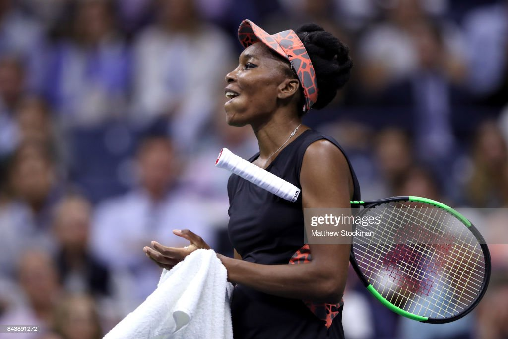 Venus Williams of the United States reacts against Sloane Stephens of the United States during their Women's Singles Semifinal match on Day Eleven of the 2017 US Open at the USTA Billie Jean King National Tennis Center on September 7, 2017 in the Flushing neighborhood of the Queens borough of New York City.