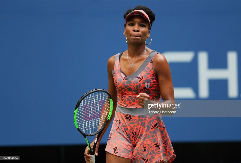 Venus Williams of the United States reacts during her first round Women's Single match against Viktoria Kuzmova of Slovakia on Day One of the 2017 US Open at the USTA Billie Jean King National Tennis Center on August 28, 2017 in the Flushing neighborhood of the Queens borough of New York City.