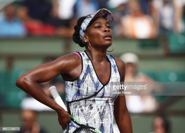 Venus Williams of the United States reacts in her women's singles fourth round match against Timea Bacsinszky of Switzerland during day eight of the...