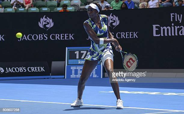 Venus Williams of the United States returns a shot against Johanna Konta of Great Britain during day two of the 2016 Australian Open on January 19...