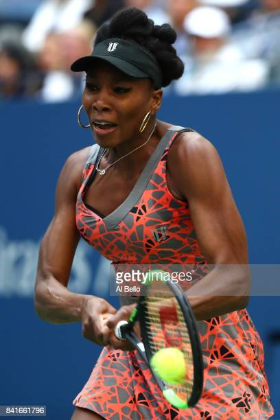 Venus Williams of the United States returns a shot to Maria Sakkari of Greece during their third round match on Day Five of the 2017 US Open at the...