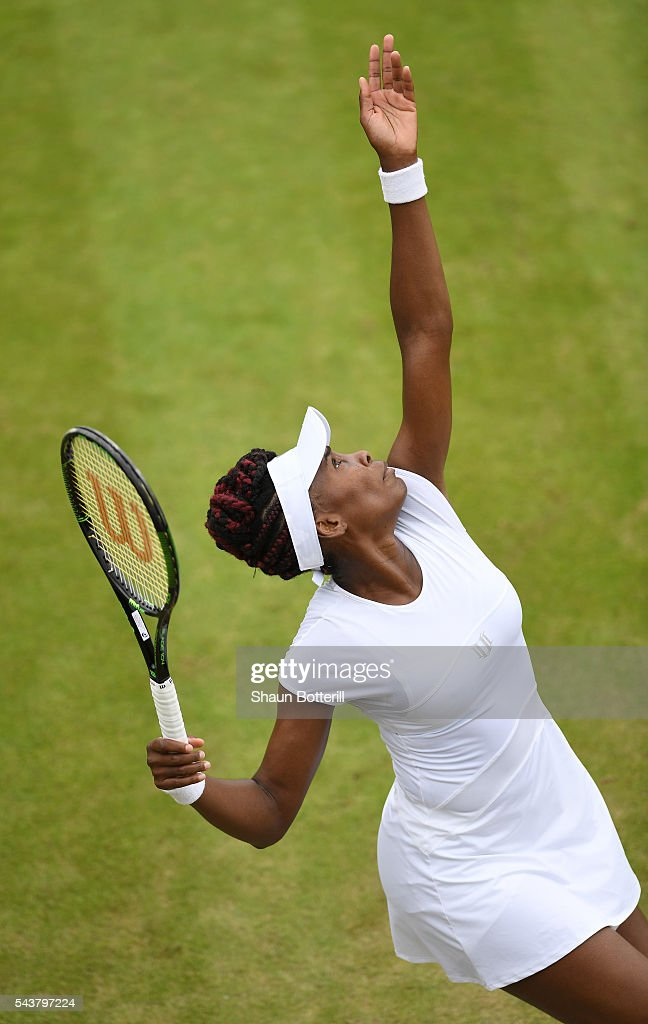 <a gi-track='captionPersonalityLinkClicked' href=/galleries/search?phrase=Venus+Williams&family=editorial&specificpeople=171981 ng-click='$event.stopPropagation()'>Venus Williams</a> of The United States serves during the Ladies Singles second round match against Maria Sakkari of Greece on day four of the Wimbledon Lawn Tennis Championships at the All England Lawn Tennis and Croquet Club on June 30, 2016 in London, England.