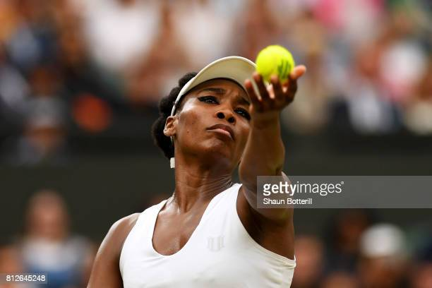 Venus Williams of The United States serves during the Ladies Singles quarter final match against Jelena Ostapenko of Latvia on day eight of the...