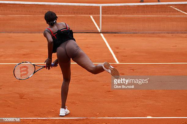 Venus Williams of the United States serves during the women's singles second round match between Venus Williams of the United States and Arantxa...