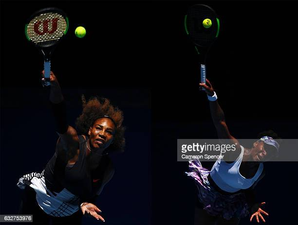 COMPOSITE OF TWO IMAGES Image numbers 632625644 and 632340970 In this composite image a comparision has been made between Serena Williams of the...