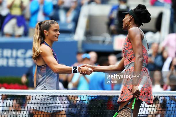 Venus Williams of the United States shakes hands after defeating Maria Sakkari of Greece during their third round match on Day Five of the 2017 US...