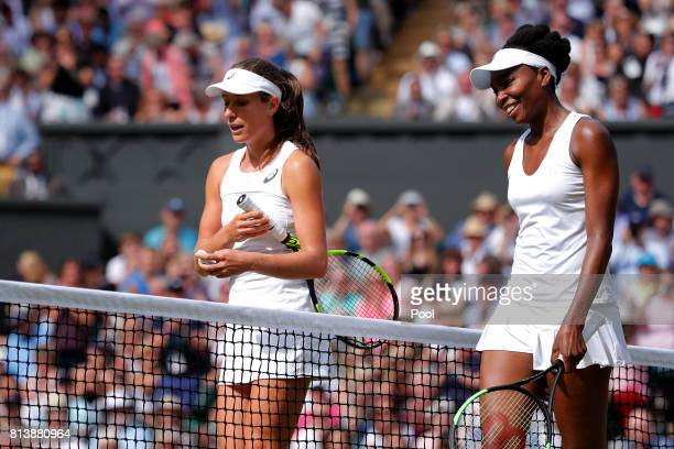 Venus Williams of The United States smiles in victory as Johanna Konta of Great Britain looks dejected after the Ladies Singles semi final match on...