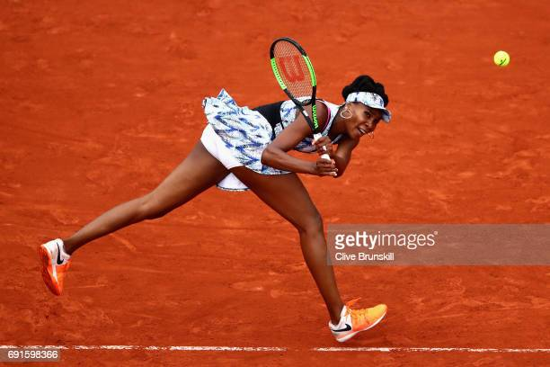 Venus Williams of The United States stretches for a backhand during ladies singles third round match against Elise Mertens of Belgium on day six of...