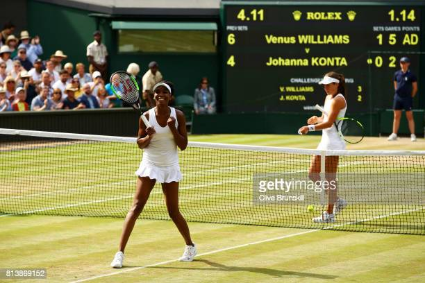 Venus Williams of The United States victory during the Ladies Singles semi final match against Johanna Konta of Great Britain on day ten of the...