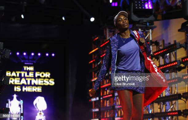 Venus Williams of the United States walks out for her singles match against Garbine Muguruza of Spain during day 5 of the BNP Paribas WTA Finals...