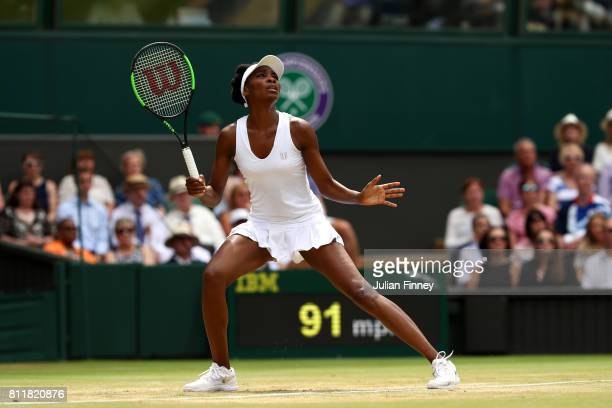 Venus Williams of The United States watches the ball during the Ladies Singles fourth round match against Ana Konjuh of Croatia on day seven of the...