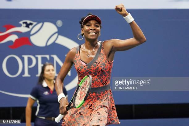 Venus Williams of the US celebrates after defeating Czech Republic's Petra Kvitova during their 2017 US Open Women's Singles Quarterfinal match at...