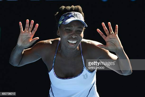 Venus Williams of the US celebrates her victory against Coco Vandeweghe of the US during their women's singles semifinal match on day 11 of the...