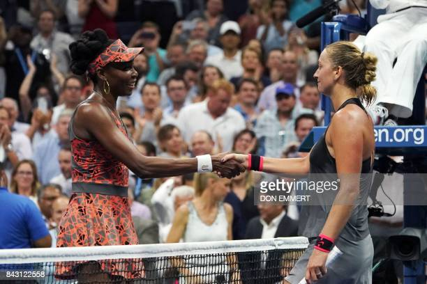 Venus Williams of the US shakes hands with Czech Republic's Petra Kvitova after winning their 2017 US Open Women's Singles Quarterfinal match at the...