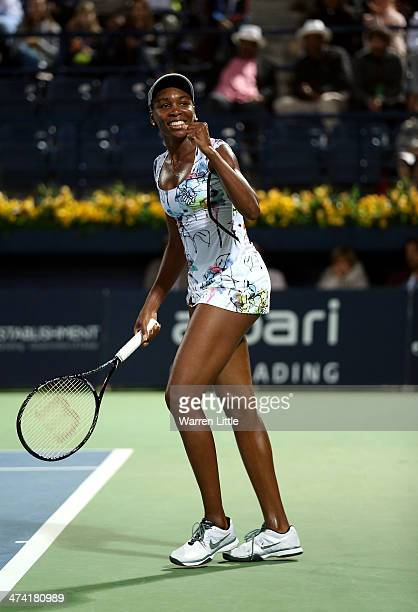 Venus Williams of the USA celebrates after beating Alize Cornet of France 63 60 in the final of the WTA Dubai Dury Free Tennis Championship at the...
