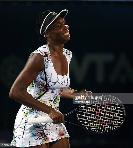 Venus Williams of the USA celebrates beating Caroline Wozniacki of Denmark during day five of the WTA Dubai Duty Free Tennis Championship at the...
