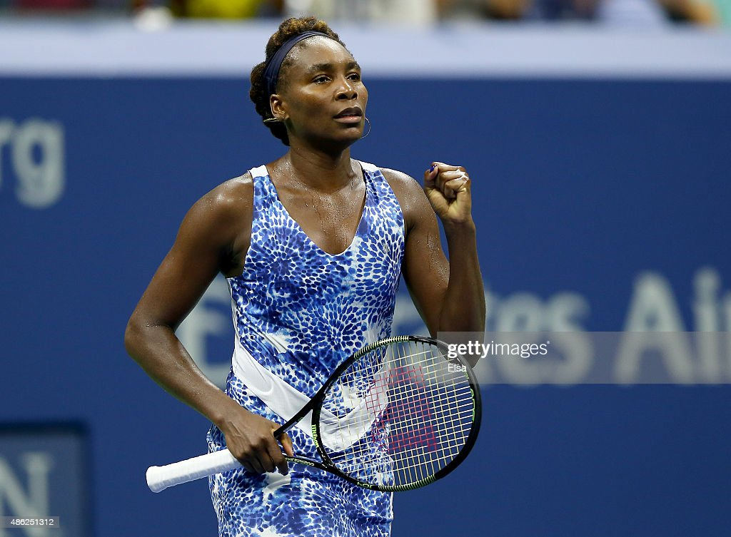 Venus Williams of the USA celebrates her match win over Irina Falconi of the USA on Day Three of the 2015 US Open at the USTA Billie Jean King National Tennis Center on September 2, 2015 in the Flushing neighborhood of the Queens borough of New York City.