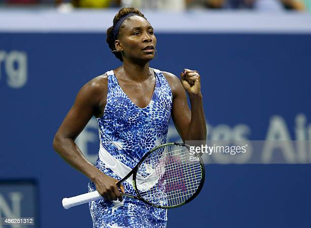 Venus Williams of the USA celebrates her match win over Irina Falconi of the USA on Day Three of the 2015 US Open at the USTA Billie Jean King...