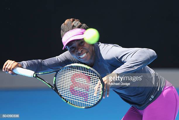 Venus Williams of the USA hits a ball during a practice session ahead of the 2016 Australian Open at Melbourne Park on January 11 2016 in Melbourne...