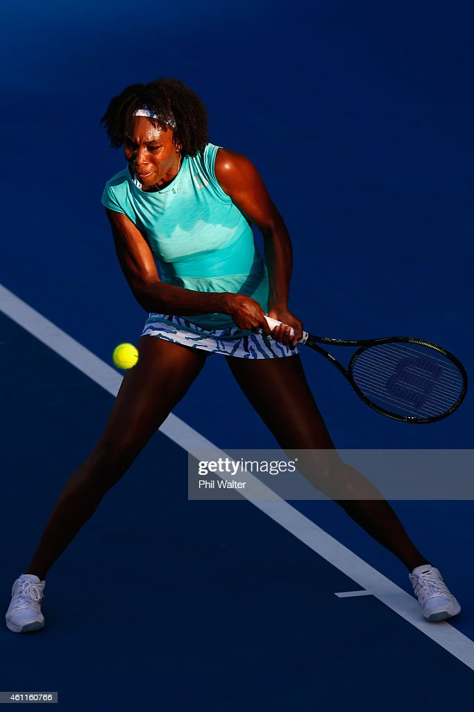 Venus Williams of the USA plays a backhand in her quarterfinal match against Elena Vesnina of Russia during day four of the 2015 ASB Classic at the...