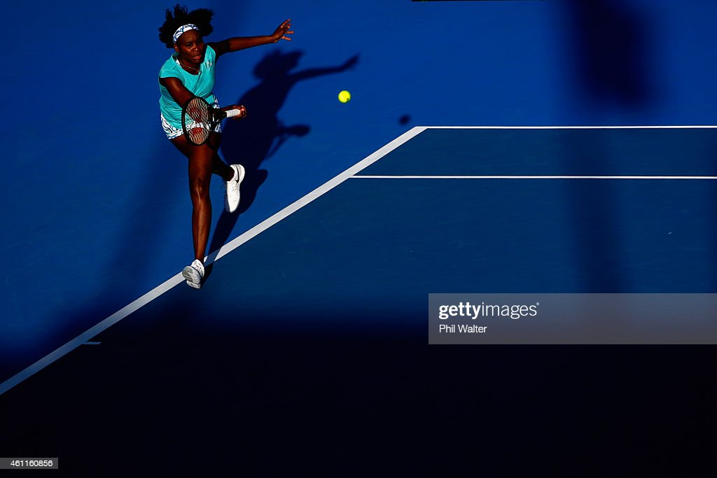Venus Williams of the USA plays a forehand in her quarterfinal match against Elena Vesnina of Russia during day four of the 2015 ASB Classic at the...
