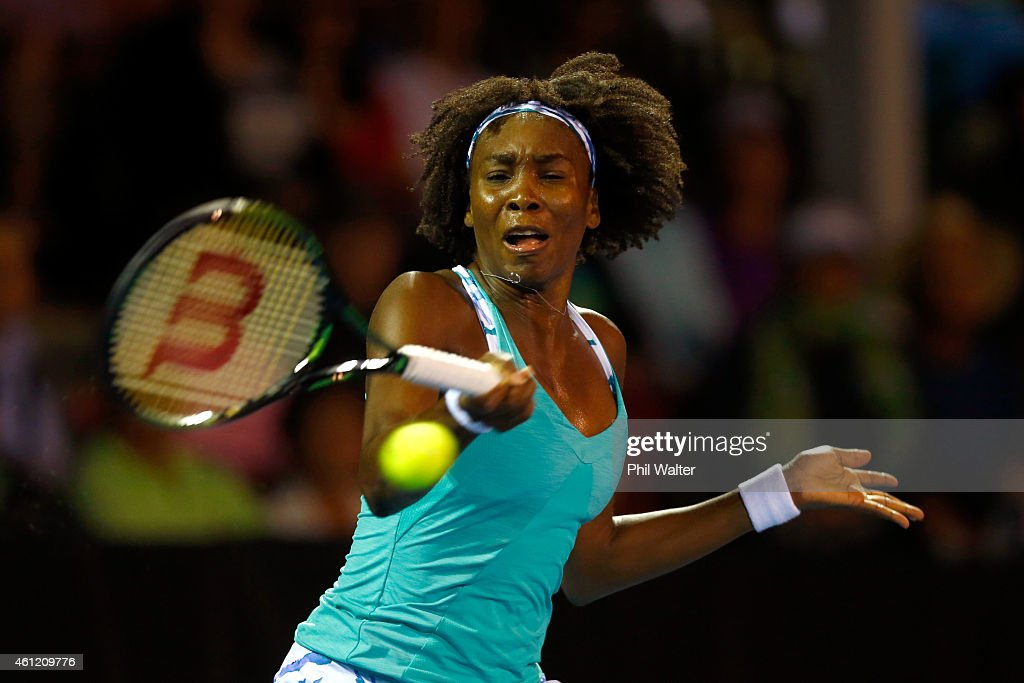 Venus Williams of the USA plays a forehand in her semifinal match against Lauren Davis of the USA during day five of the 2015 ASB Classic at ASB...