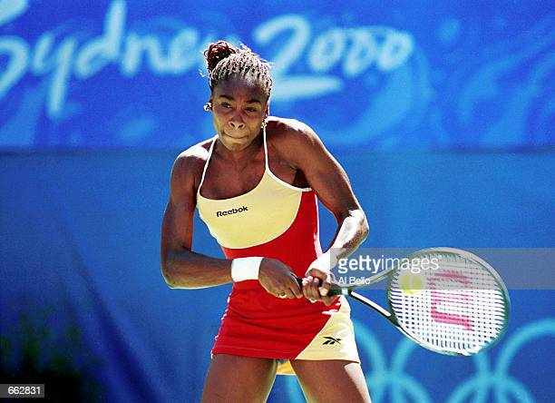Venus Williams of the USA plays against Elena Dementieva of Russia in the women's singles gold medal match September 27 2000 on day twelve of the...