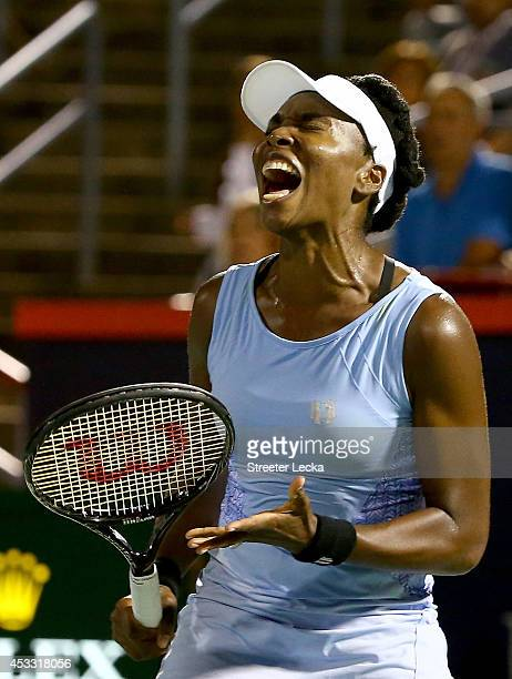 Venus Williams of the USA reacts after a shot against Angelique Kerber of Germany during the Rogers Cup at Uniprix Stadium on August 7 2014 in...