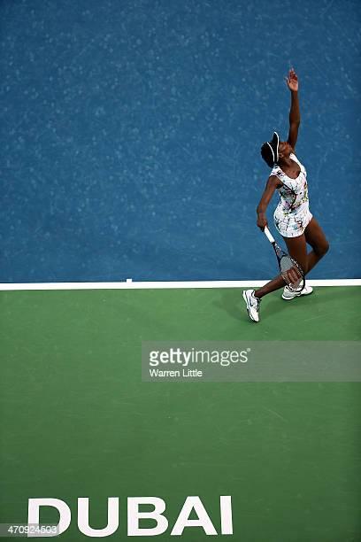 Venus Williams of the USA serves against Caroline Wozniacki of Denmark during day five of the WTA Dubai Duty Free Tennis Championship at the Dubai...