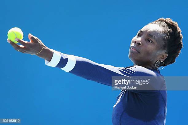 Venus Williams of the USA serves during a practice session ahead of the 2016 Australian Open at Melbourne Park on January 16 2016 in Melbourne...